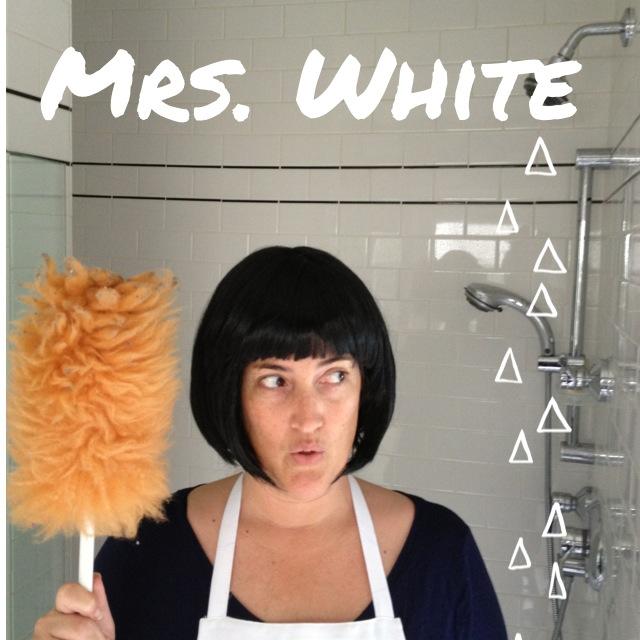 Sasha dressed as Mrs. White